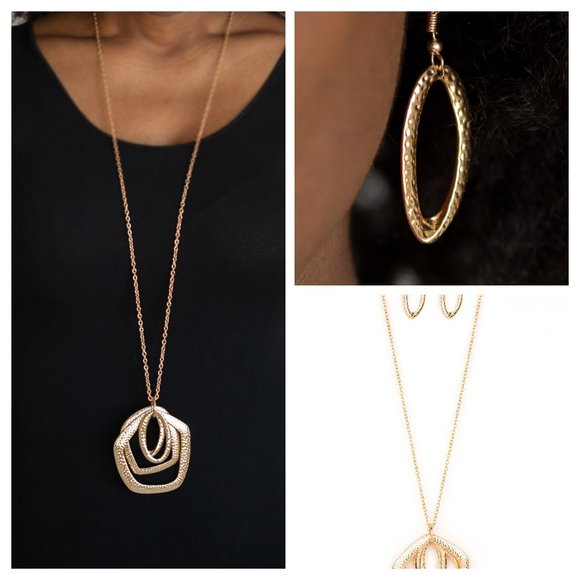 Urban Artisan Gold Necklace Earing Set (091)